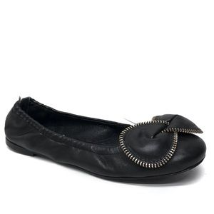 SEE BY CHLOE Black Leather Zipper Bow Flats 37
